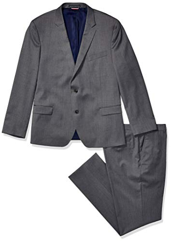 Tommy Hilfiger Men's Slim Fit Performance Suit with Stretch, Steel Gray, 36S]()