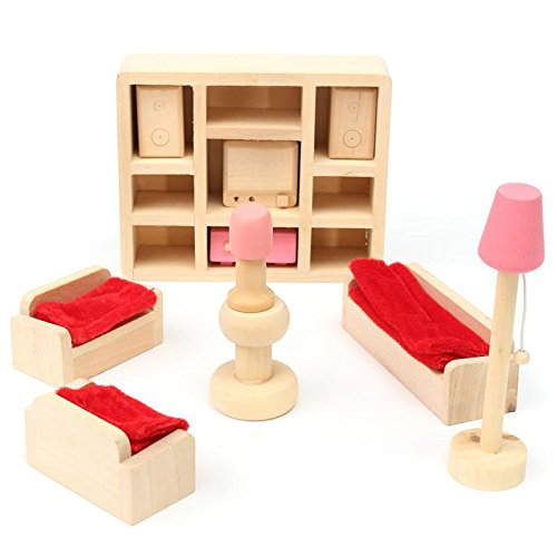 Domino Dollhouse Costumes (Wooden Delicate Dollhouse Furniture Toys Miniature For Kids Children (Living)