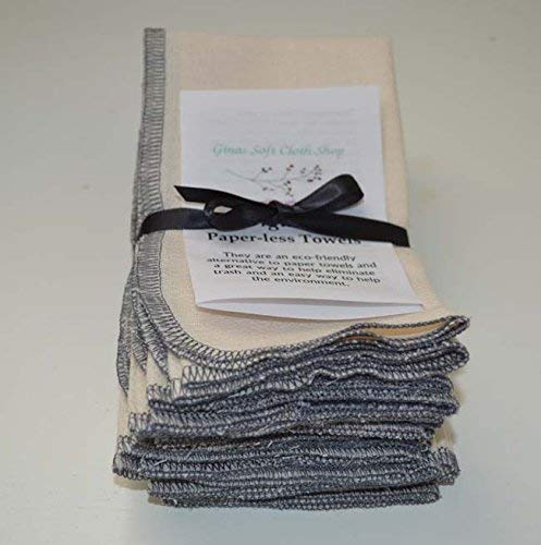 1 Ply Organic Cotton Paperless Towels 11x12 Inches Set of 10 Grey Thread Edging