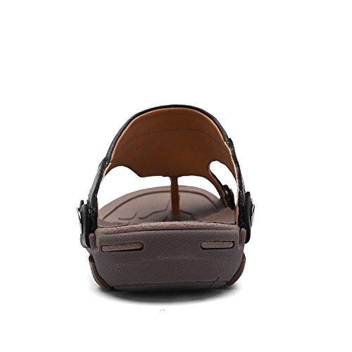EnllerviiD Mens Leather Outdoor Thong Sandals Slip-resistant Flip Flops Beach Shoes Black 3eFTO3