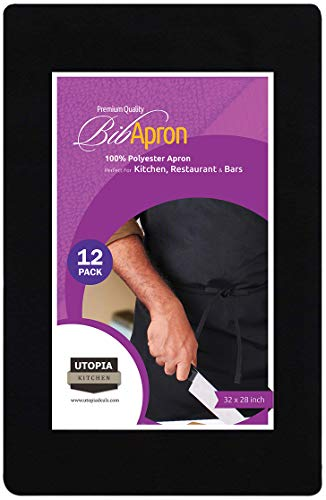 Utopia Kitchen Professional Bib Apron ( 12 pack, 32 x 28 inches, Black ) - Liquid drop resistant, Durable, String Adjustable, Machine Washable, Comfortable and Easy Care Aprons. (Black) by Utopia Kitchen (Image #1)