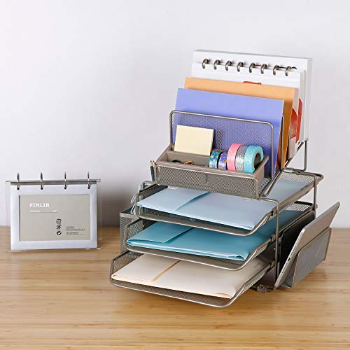 DESIGNA Desk Organizer with 4 File Holders 3 Sliding Letter Trays 2 Side Compartments, Desktop Storage with Pencil Holder and Non-Slip pad, Champagne