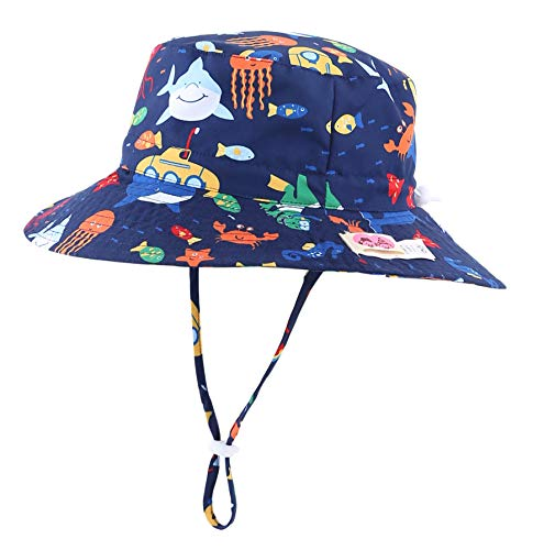 Home Prefer Kids UPF50+ Safari Sun Hat Breathable Bucket Hat Summer Play Hat XL Suggest to 4T-8T, Ocean Navy Blue