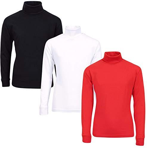 - MAC HENRY Boy\'s 3-Pack Basic Long Sleeve Turtlenecks, Black, Red & White, 16/18'