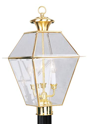 Livex Lighting 2384-02 Outdoor Post with Clear Beveled Glass Shades, Polished - Large Post Polished Brass Outdoor