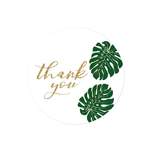 Tree Gift Sticker (Andaz Press Round 2-inch Circle Label Stickers, Faux Gold Glitter Monstera Palm Tree Leaves, Thank You, 40-Pack, Party Favor Envelope Stationary Seals)