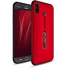 iPhone X Case, iPhone 10 Case, Fotrust Dual Layer TPU + PC Shockproof Heavy Duty Protection Cover With Metal Kickstand Silicone Ring Holder For iPhone X Only (iPhone X red)