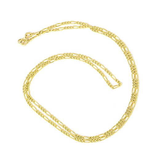 Boys' 14k Yellow Gold Diamond Cut 1.8mm Figaro Chain Necklace, 13'' by Beauniq