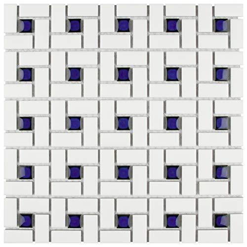 (SomerTile FKOMSP24 Retro Spiral Porcelain Floor and Wall Tile, 12.5