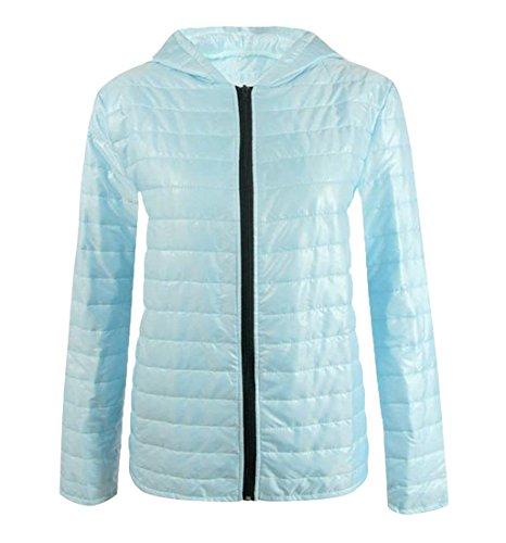 Blue Outwear Short XL Wome's Down Sky Thicken Hooded Solid Zipper EKU Jacket wqpxf6nF