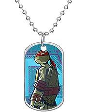Nickelodeon Teenage Mutant Ninja Turtles Stainless Steel Raphel Dog Tag Bead Necklace