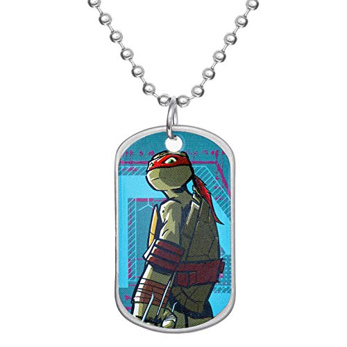 Nickelodeon Teenage Mutant Ninja Turtles' Jewelry for Boys and Girls, Stainless Steel Raphael Dog Tag Bead Necklace, 16