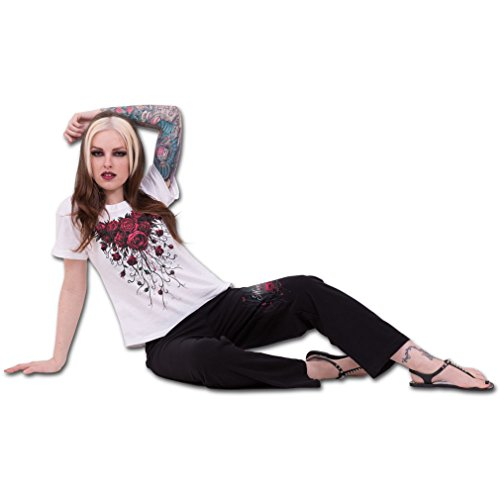 Spiral 4 teiliges Gothic Damen Pyjama Set Rosen und Sugar Doll - Blood Rose Schlafanzug