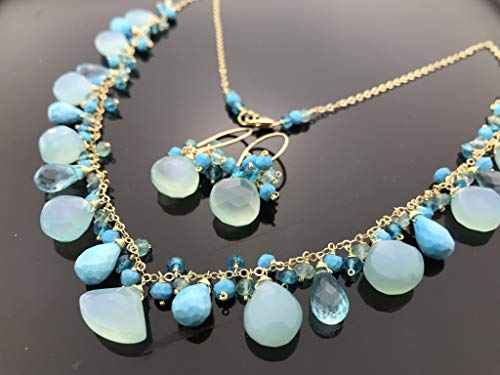 Chalcedony Turquiose Apatite 14k Gold Filled Necklace and Earrings Set