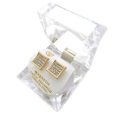 Gold, Silver Tone 8.9 mm Rhinestone Square Shape Magnetic Stud Earring XE1139 (Gold (Hip Hop Magnetic Earrings)