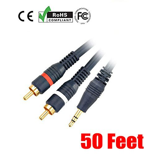 ries 50 Feet 3.5mm Stereo Male to 2RCA Male 22AWG Cable - Gold Plated ()