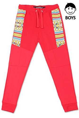 JC DISTRO Boys Hipster Hip Hop colorful Tribal Printed On Sides Red Jogger Pants Medium by JC DISTRO