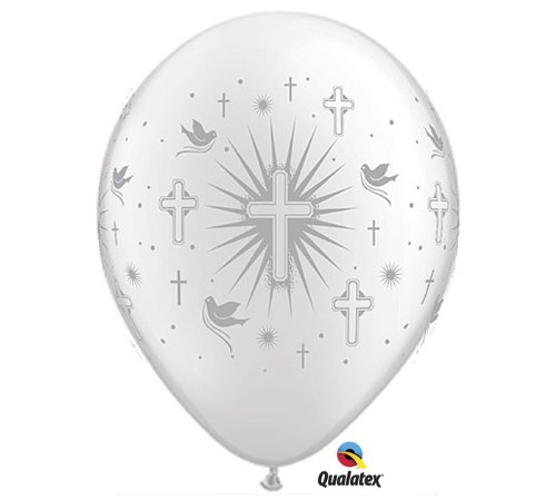 (Qualatex Cross & Doves BiodegraQualatex Cross & Doves Biodegradable Latex Balloons, Pearl White with Silver Prints All-Around, 11-Inches)