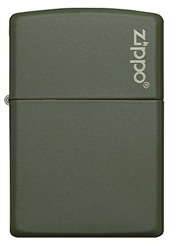 Zippo-Green-Matte-Logo-Pocket-Lighter