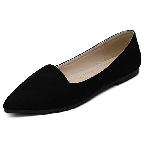 Flats Ballet Classic (Meeshine Women's Classic Pointy Toe Ballet Flat Comfort Soft Suede Ballerina Slip On Flats Shoes(6 B(M) US,Black))