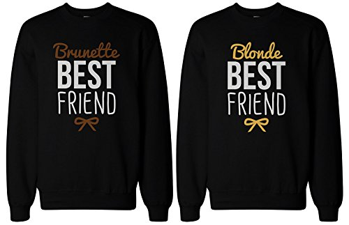 Cute Brunette and Blonde Best Friend Matching BFF Pullover ()