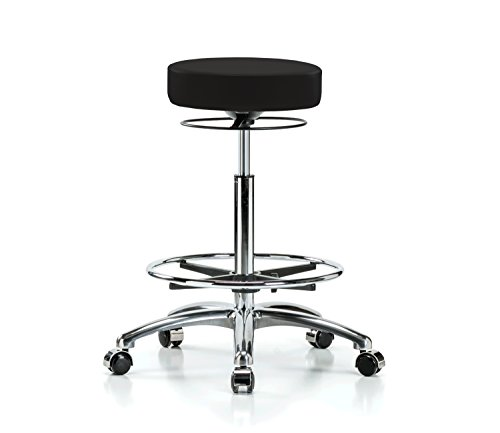 Perch Chrome Stella Rolling Height Adjustable Salon Spa Stool with Footring for Hardwood or Tile Counter Height 25-35 Inches 300-Pound Weight Capacity 12 Year Warranty Black Vinyl
