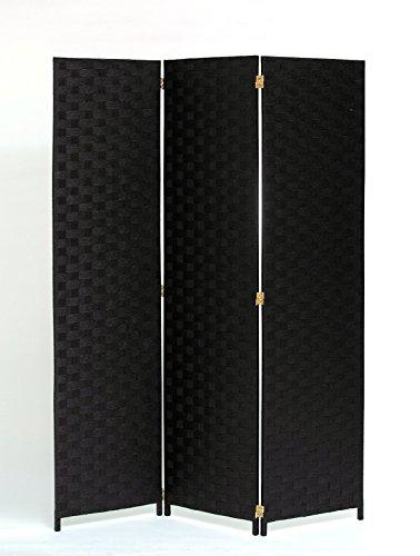 Room Divider 3 Panel Weave Design Paper Fiber Black Color By Legacy Decor - Three Panel Black Screen