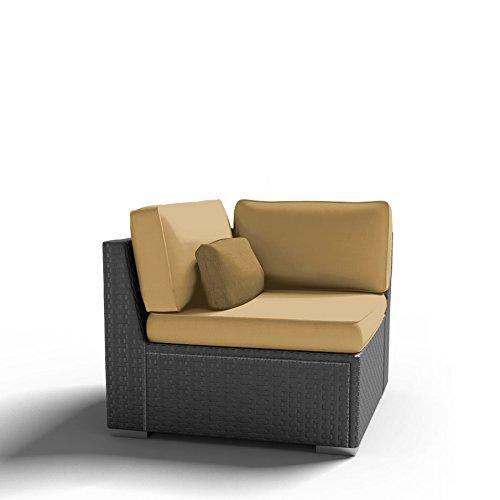 Modenzi C-U (Left) Corner Chair Outdoor Patio Furniture Espresso Brown Wicker (Dark Beige)