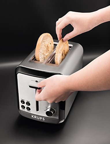 KRUPS KH3110 Brushed Stainless Steel Toaster with Bagel and Slots, 2-Slice,