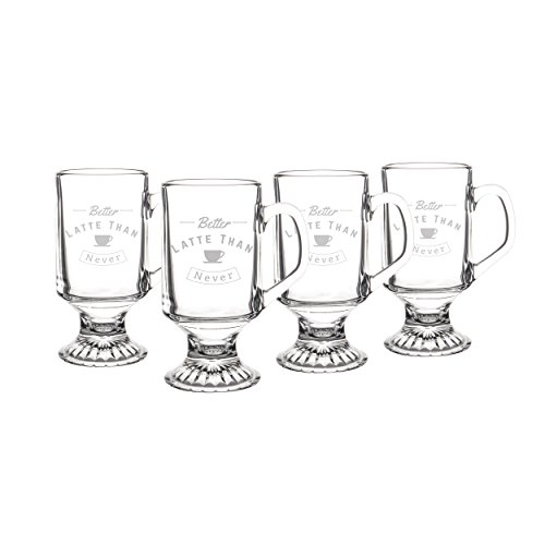 Cathy's Concepts But First Coffee Large 10 oz Glass Mugs - Set of (1st Coffee Mug)