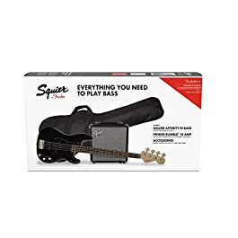 Squier by Fender Affinity Series Precision Bass PJ Beginner Pack, Laurel Fingerboard, Black, with Gig Bag, Rumble 15 Amp…