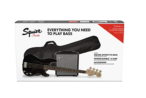 - Squier by Fender Affinity Series Precision Bass PJ Beginner Pack, Laurel Fingerboard, Black, with Gig Bag, Rumble 15 Amp, Strap, Cable, and Fender Play