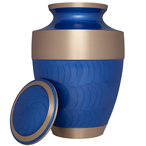 Funeral Urn by Liliane Memorials - Cremation Urn for Human Ashes - Hand Made in Brass - Suitable for Cemetery Burial or Niche - Large - Fits remains of Adults up to 200 lbs - Banda Model (Blue) by Liliane Memorials (Image #1)