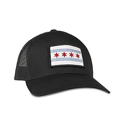 Chicago Flag Hat - Trucker Mesh Snapback Baseball Cap - Black