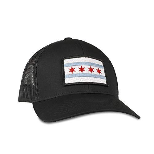 (Chicago Flag Hat - Trucker Mesh Snapback Baseball Cap - Black)