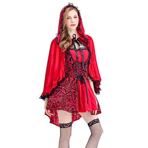 Spring Color  Women's Little Red Riding Hood Halloween Cosplay Costume Make Up Party Dress]()