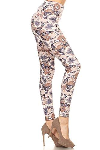 Floral Print Leggings - Print Leggings Muted Floral (R785-OS)