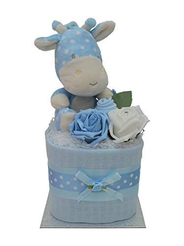Cute Blue Giraffe Square Mini New Baby Boys Nappy Cake Baby Shower Gift - with FREE UK Delivery! Packaged to Perfection MSBLGF