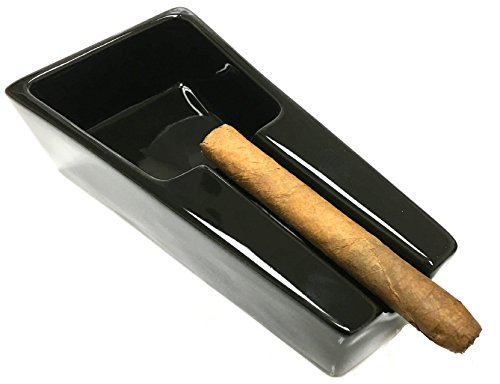 - F.e.s.s. Fess Ceramic Single Cigar Rest Ashtray for Patio, Indoor, Outdoor Desktop Use