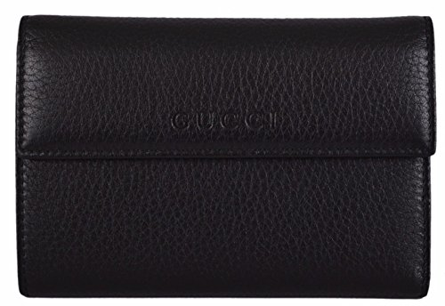 Gucci Textured Leather Continental Flap Wallet 346057, Black