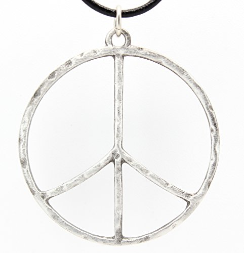 Pewter Hammered Peace Sign Large Pendant on Leather Necklace