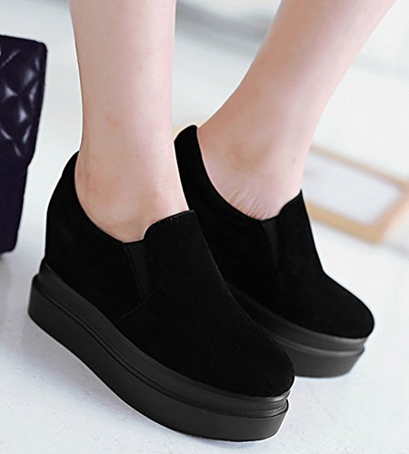 Low Black Platform Womens With Top Casual IDIFU Inside Heels Wedge Sneakers Slip Shoes On nxfWExO4