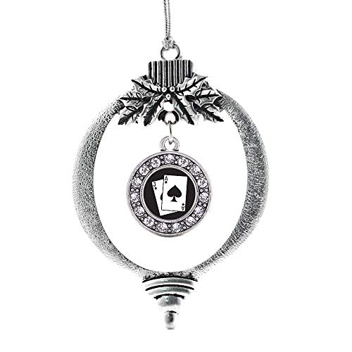 Inspired Silver - Blackjack Charm Ornament - Silver Circle Charm Holiday Ornaments with Cubic Zirconia Jewelry