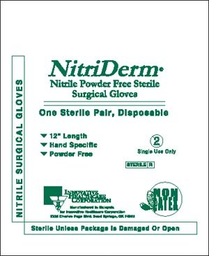 Innovative Healthcare 135650 NitriDerm Series 135 Powder-Free Nitrile Synthetic Sterile Surgical Glove, Size 6.5, Clear (Pack of 100)