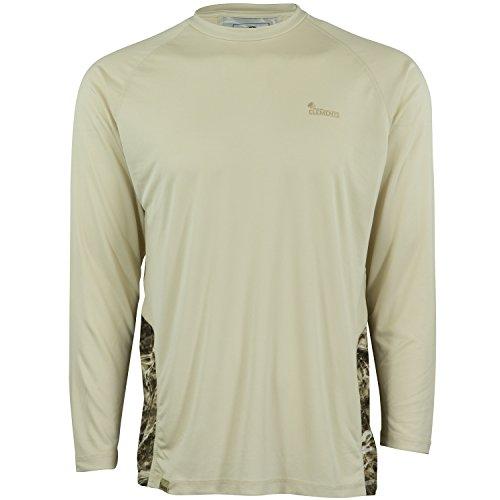 Mossy Oak Long Sleeve Performance Moisture Wicking Fishing Shirt, Oyster Tan/Sandcrab, XX-Large