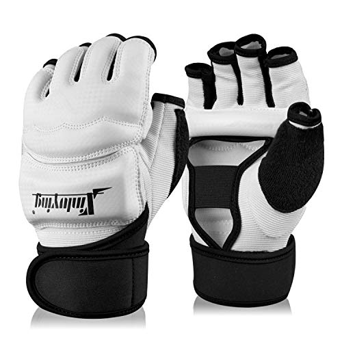 Xinluying Punch Bag Boxing Martial Arts MMA Sparring Grappling Muay Thai Taekwondo Training PU Leather Wrist Wraps Gloves White S