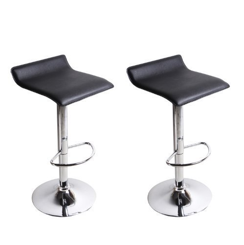 Swivel Dining Chair Pedestal Base (DecentHome Low Back Hydraulic Lift 360 Degree Swivel Adjustable Barstool Chairs (Set of 2),with Chrome Finished Pedestal Base and Arms (Black))