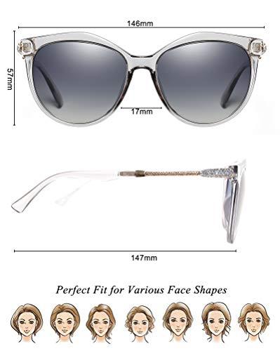 Lente de Mujer Lente Clásico Protección Disponible Para Gradiente Lente WHCREAT Gafas Estilo Cat De Moda Lente Gris UV400 Marco Sol Eye Polarizadas Gris Espejada Aq4ZO0x