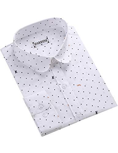 DOKKIA Women's Tops Feminine Long Sleeve Polka Dotted Button Down Work Dress Blouses Shirts (Large, White Mini Dot)