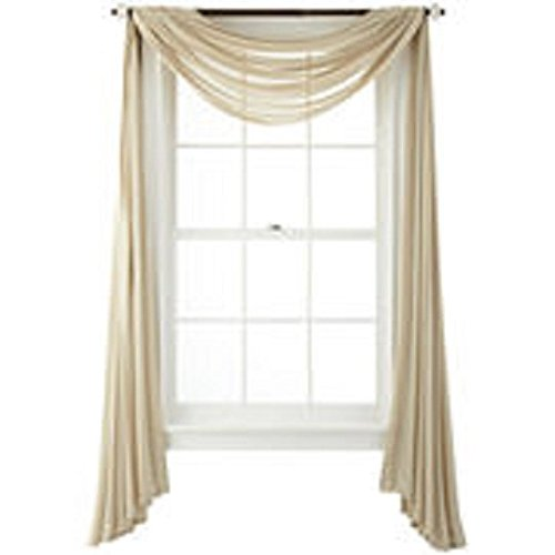 GorgeousHome 1 Taupe Tan Swag Valance Scarf For Wedding Table Chair Window Wall Church Decor Pole Voile Fabric Size (6 YARD) 216 Inches Long (6 Yard Window Scarf Valance)